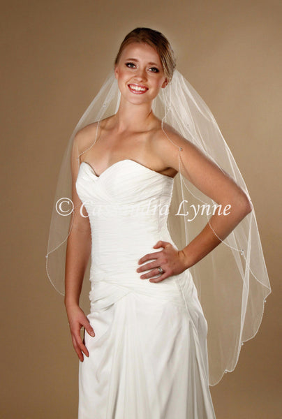 Knee Length Scalloped bridal Veil with Teardrop Crystals