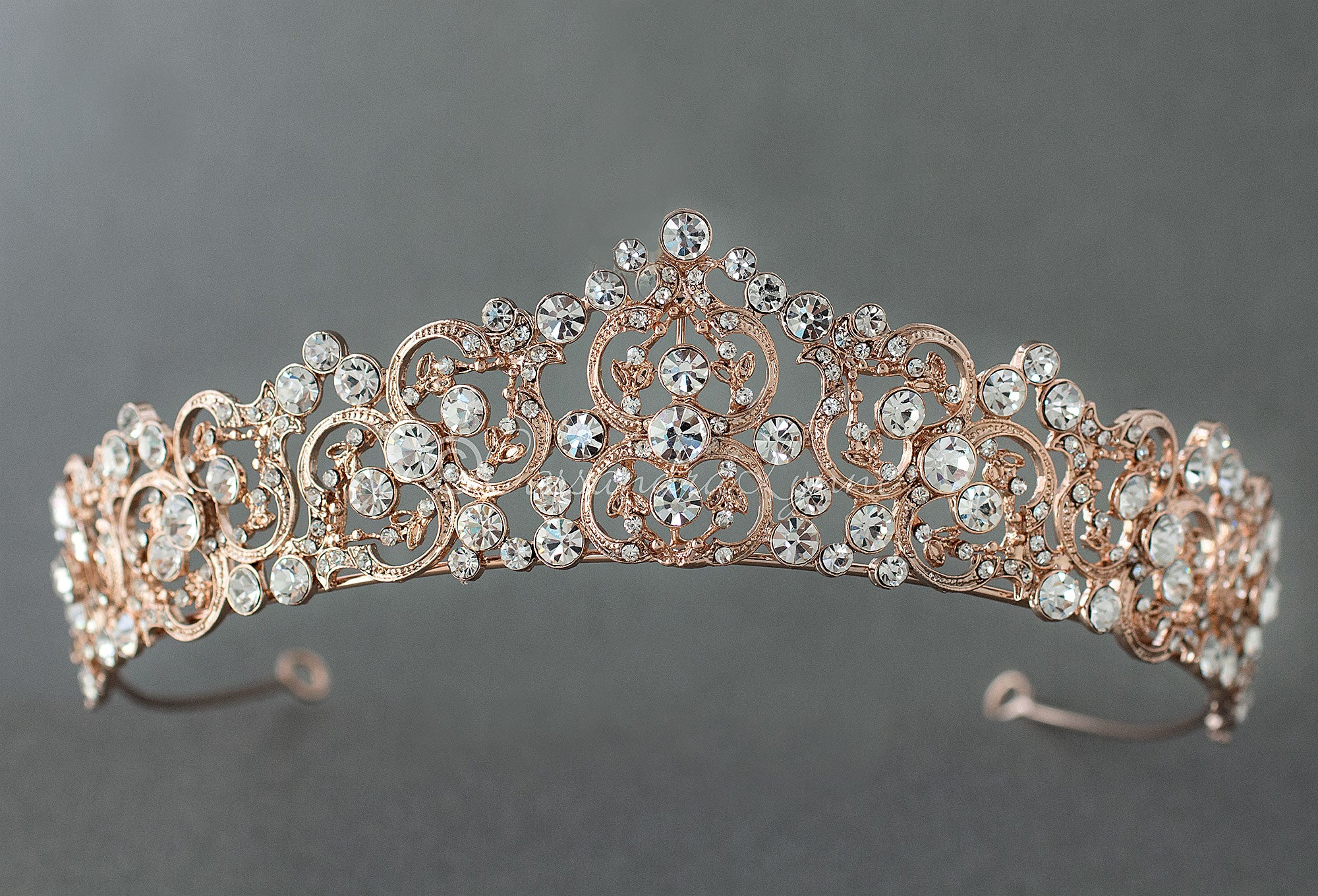 Wedding Tiara of Round Crystal Stones