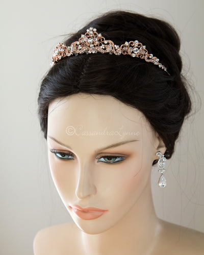 Scrolling Wedding Tiara with Crystals