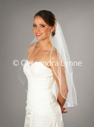 Waist Length Wedding Veil with Narrow Sheer Ribbon