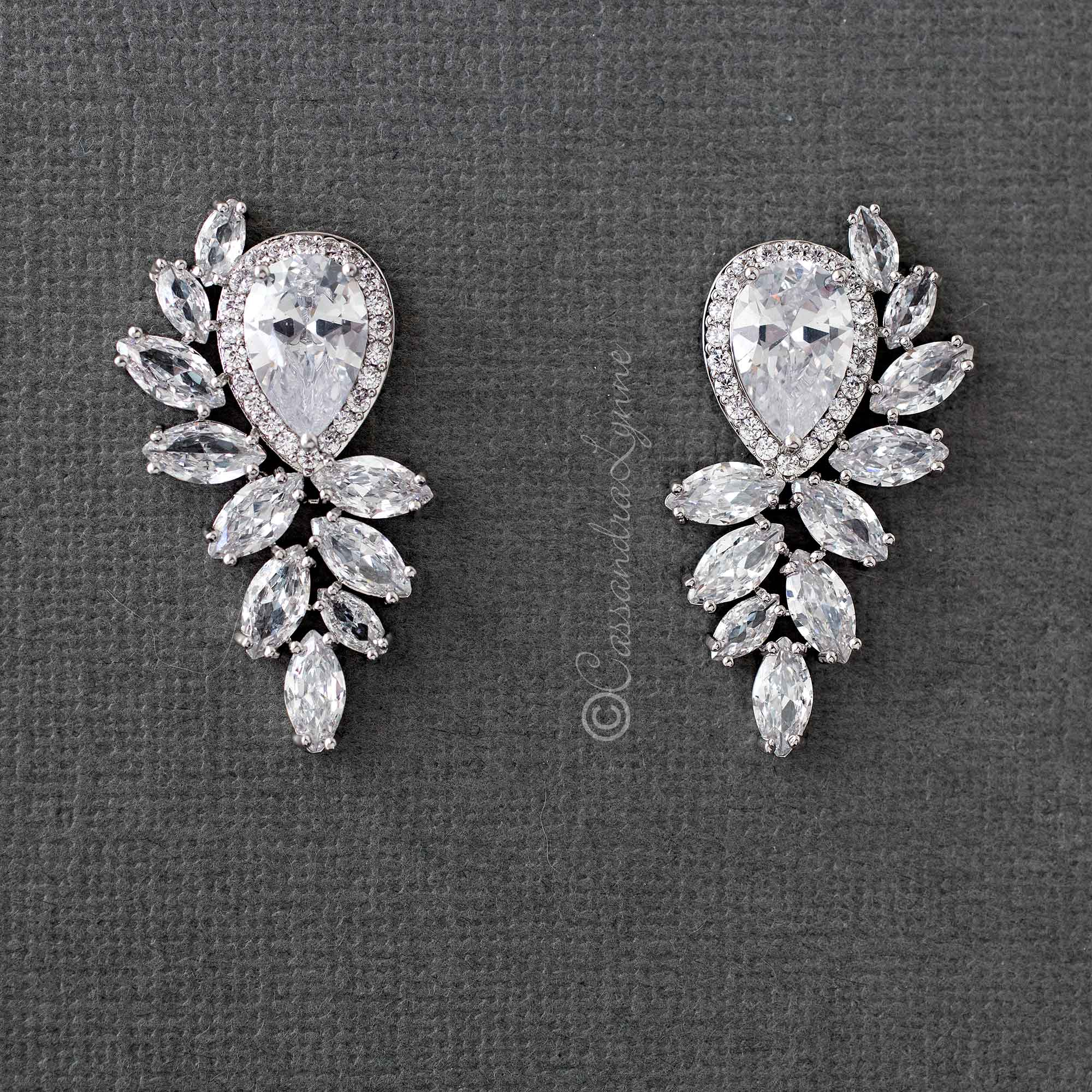 Bridal Earrings with Water Drop and Marquise CZ