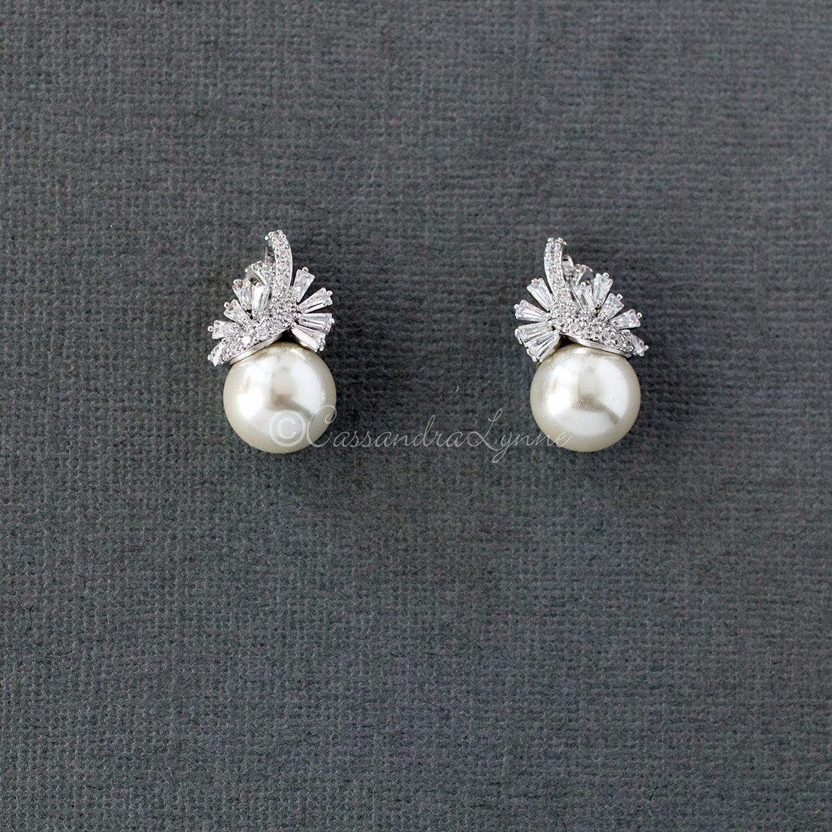 Sterling silver Pearl and CZ Wedding Jewelry Studs Silver