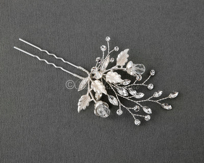 Crystal Flower Buds Wedding Hair Pin Silver