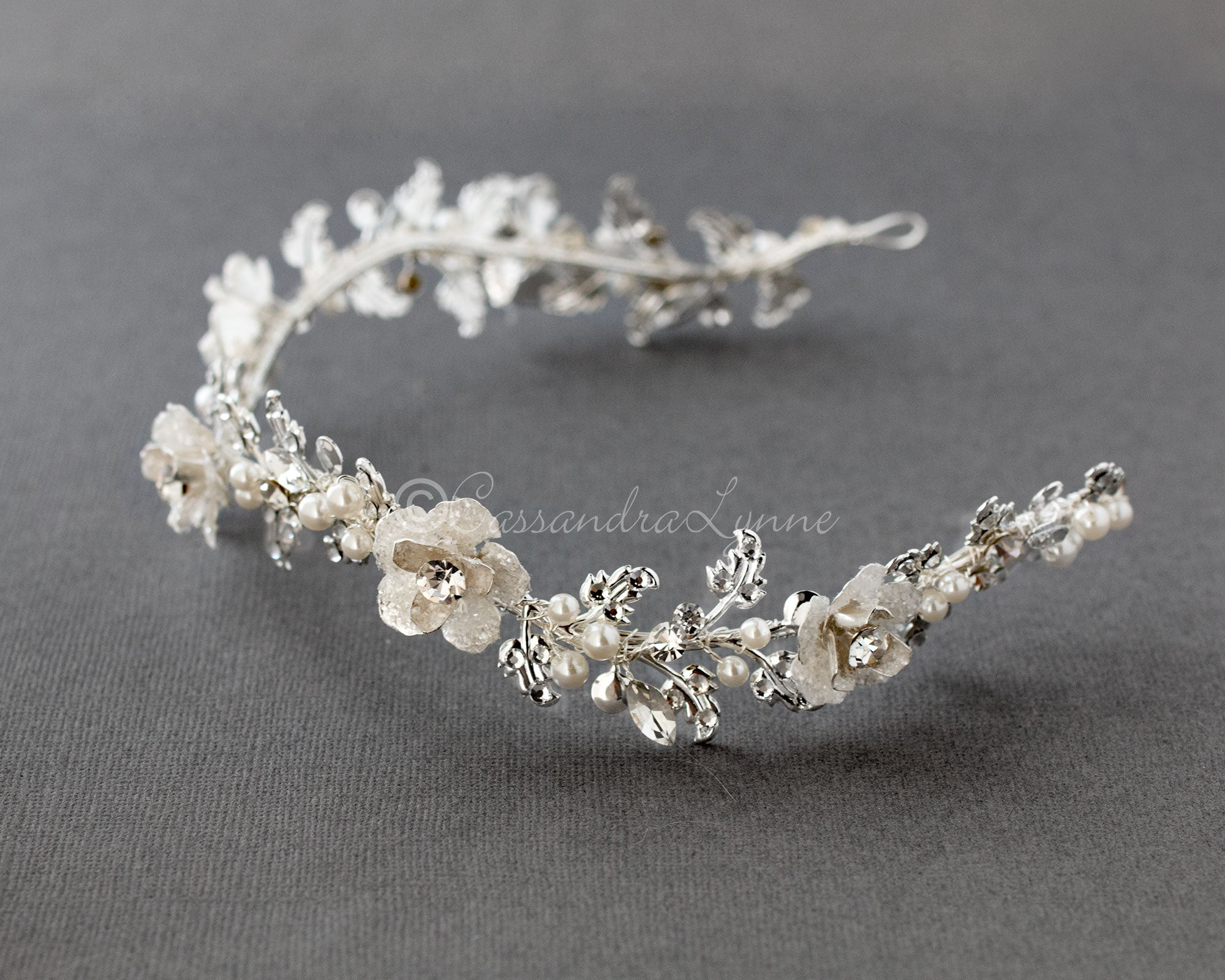 Crystalline Flower Wedding Headband