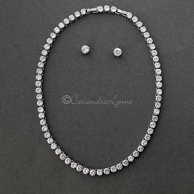 Cubic Zirconia Tennis Necklace and Earrings