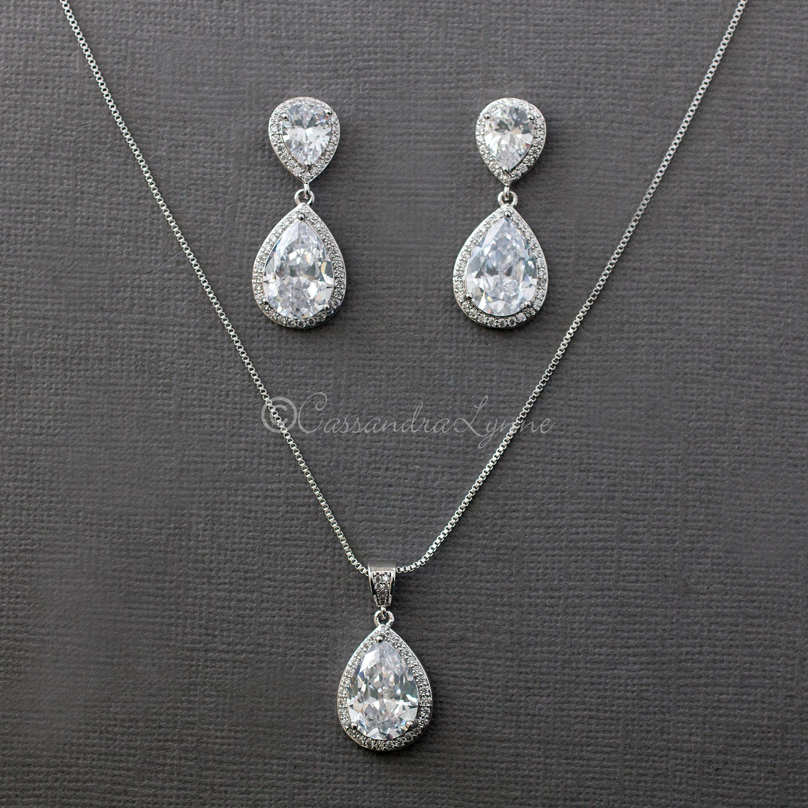 Bridal Pendant Set of Large Water Drops