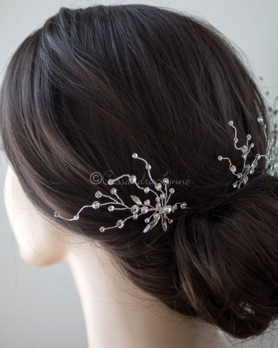 Crystal Hair Pin Set with Elongated Marquise Stones