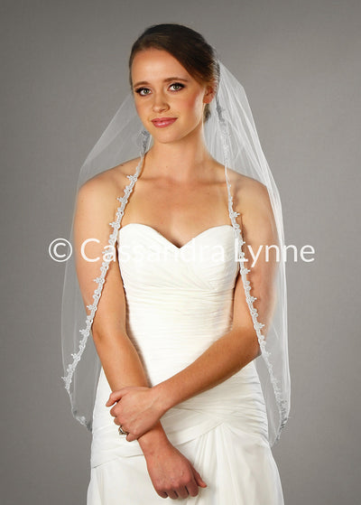 Fingertip Wedding Veil with Silver Metallic Deco Lace