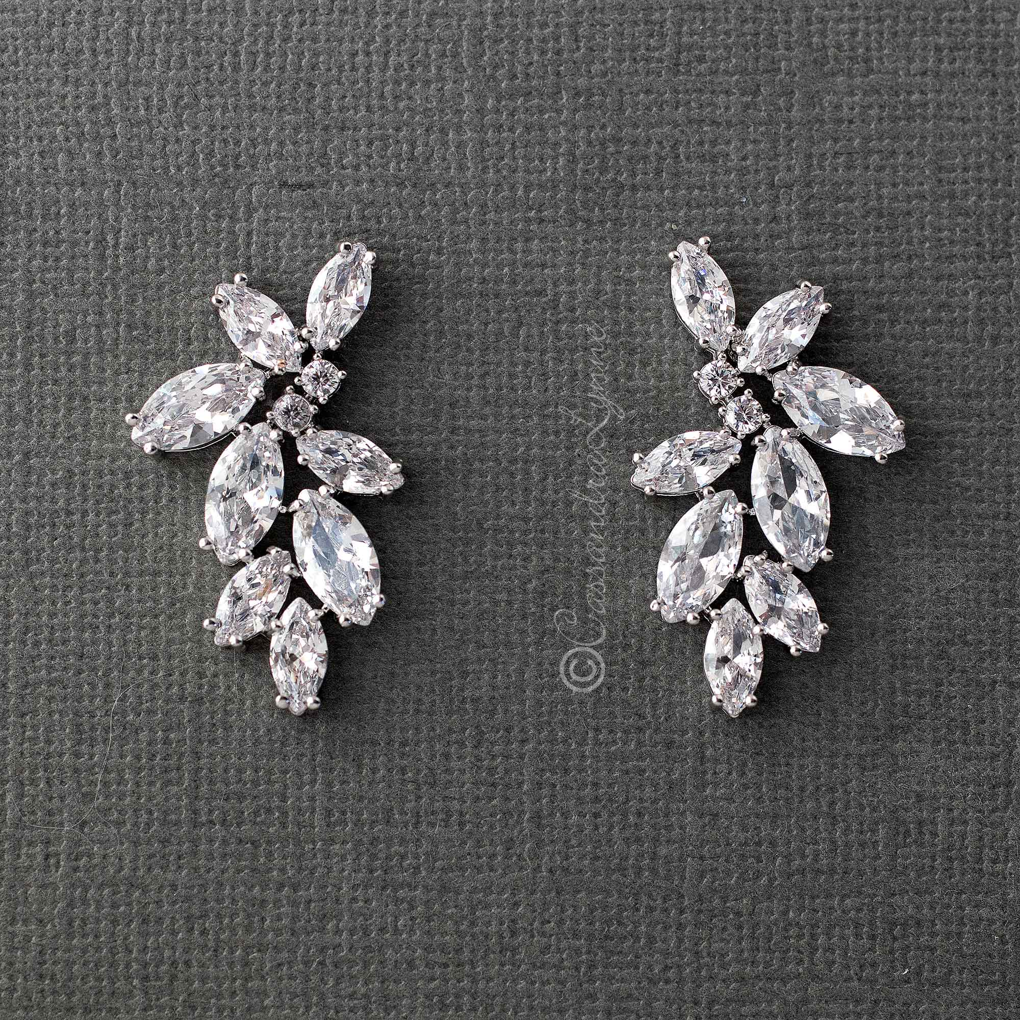 Fashion CZ Marquise Flower Earrings
