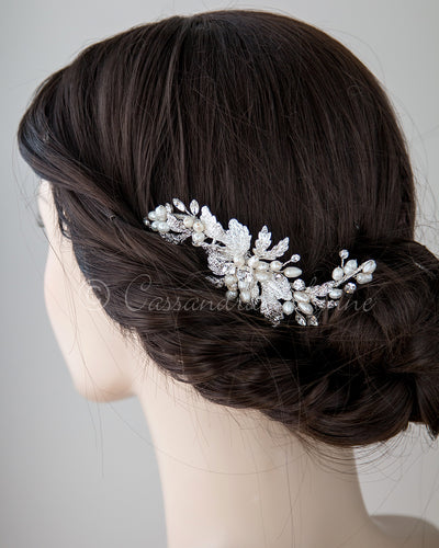 Silver Perl Bridal Hair Comb
