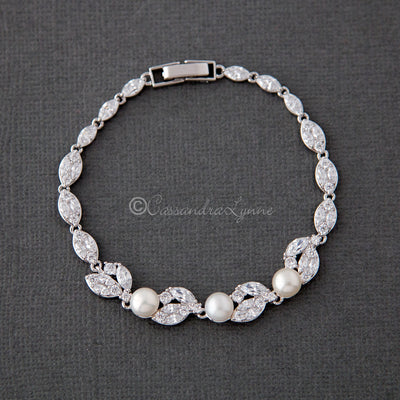 Pearl CZ Wedding Bracelet with Leaves
