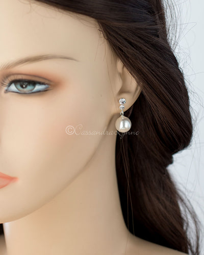 Pearl Drop Crystal Earrings