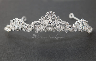 Scrolling Wedding Tiara with Crystals Silver