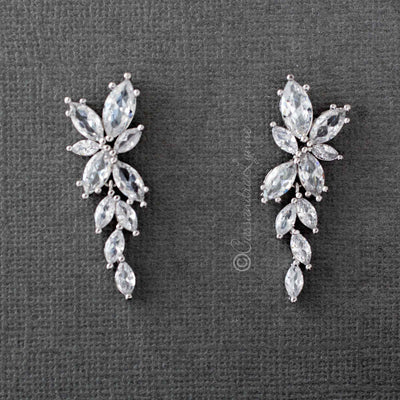 Bridal CZ Earrings of Marquise Flowers