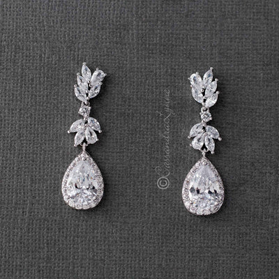 Earrings for the Bride Pear Drop CZ Jewelry