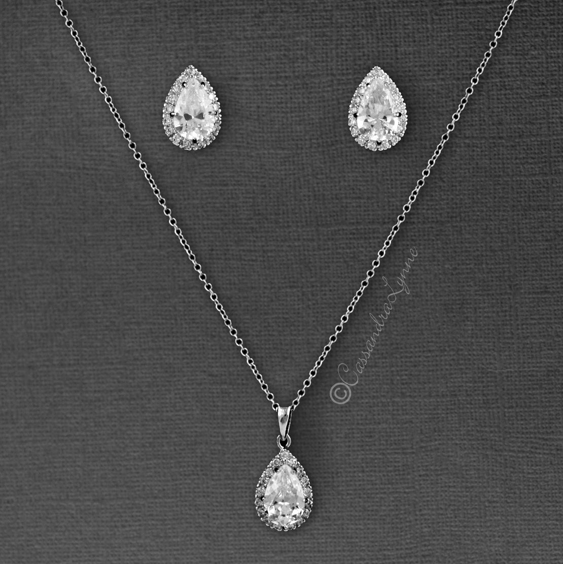 Classic CZ Necklace Pave Pear Bridal Pendant and Earrings