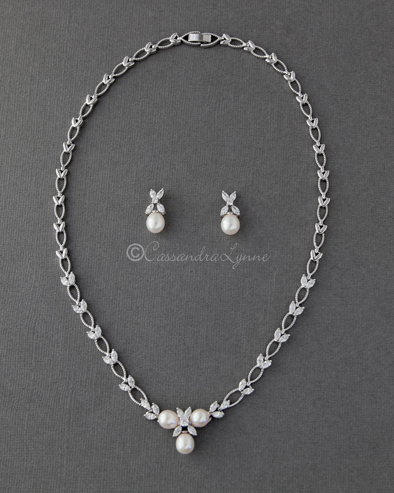 Pearl and Marquise Leaf Bridal Jewelry Necklace Set
