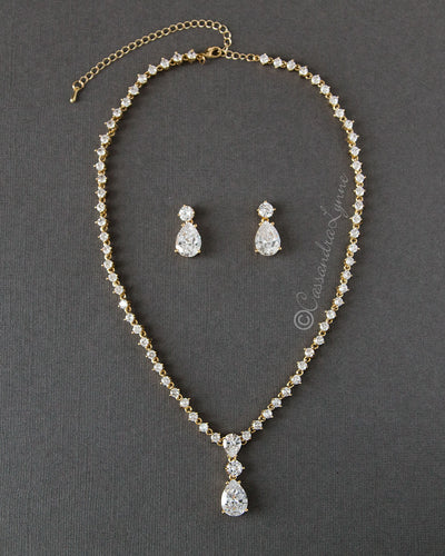 Classic Teardrop Wedding Necklace Jewelry Set Gold