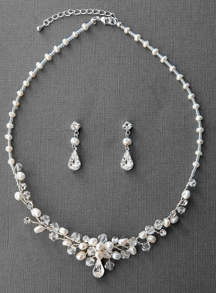 Beaded Wedding Jewelry Set with Pearls