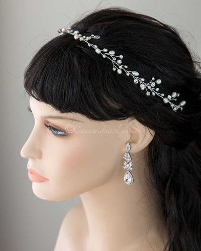 Long Wedding Hair Vine with Freshwater Pearls