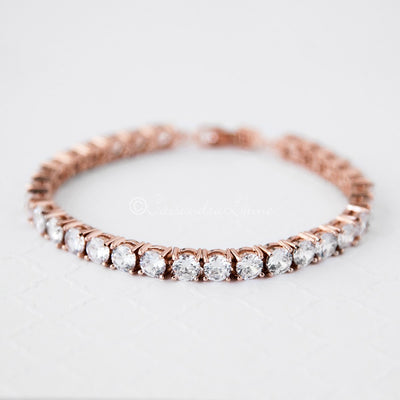 Rose Gold Cubic Zirconia Tennis Bracelet