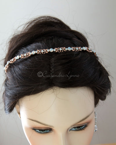 Rose Gold and White Opal Bridal Headband