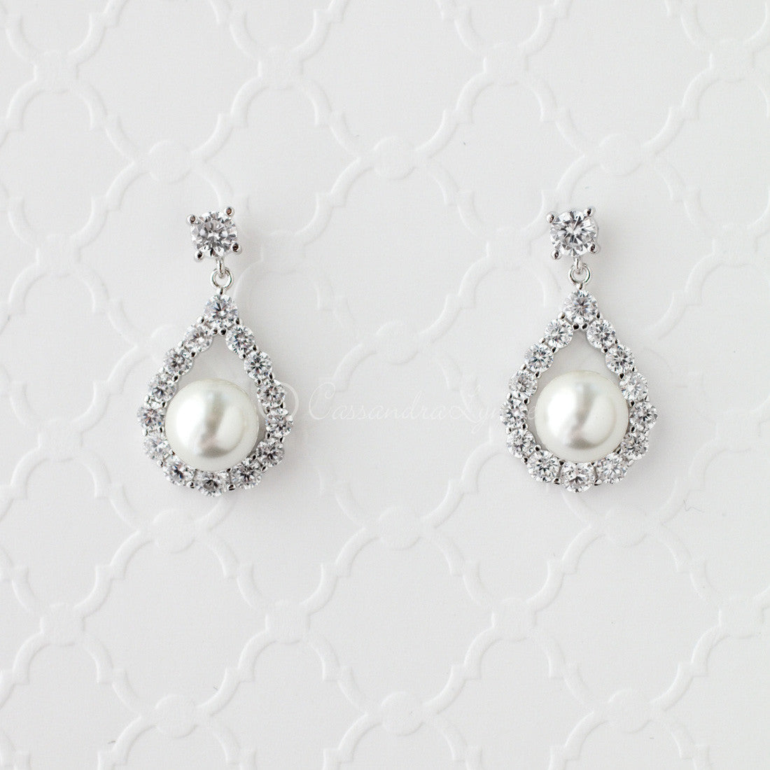 Pearl CZ Drop Bridal Earrings