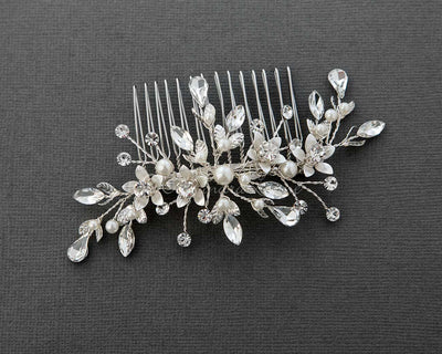 Crystal and Pearl Wedding Comb silver