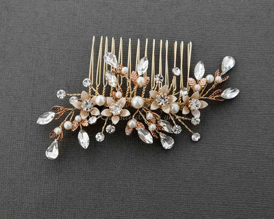 Crystal and Pearl Wedding Comb Gold