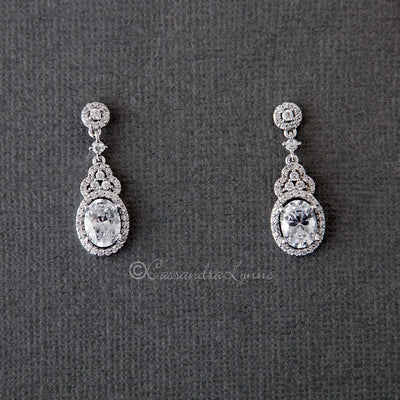 Delicate Oval Drop Wedding Earrings