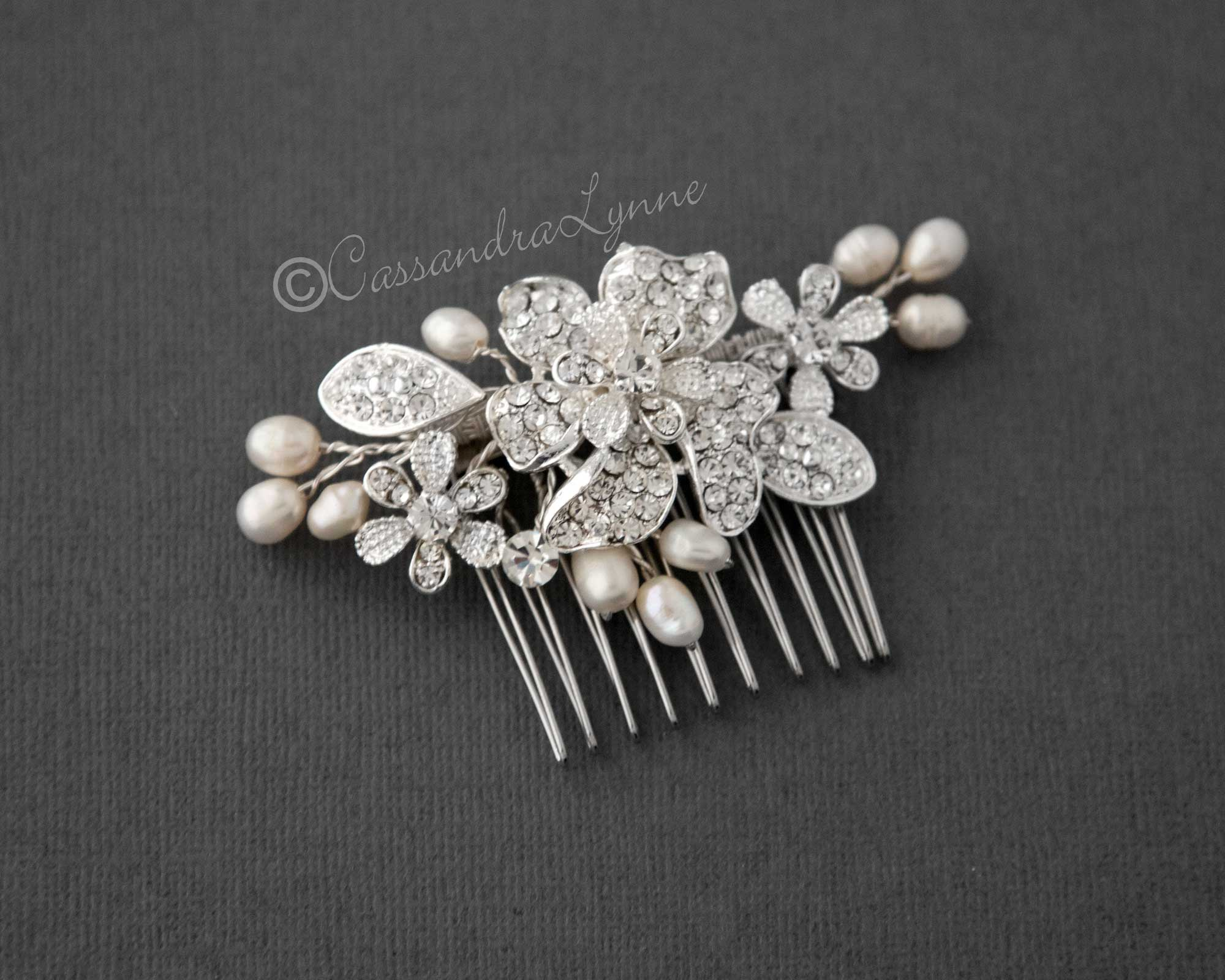 Crystal Flower Wedding Comb with Ivory Pearls