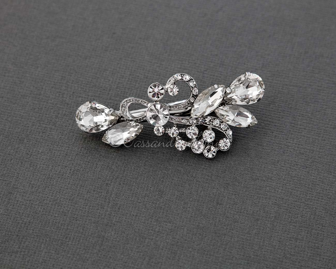 Antique Silver Pear and Marquise Jewel Hair Clip