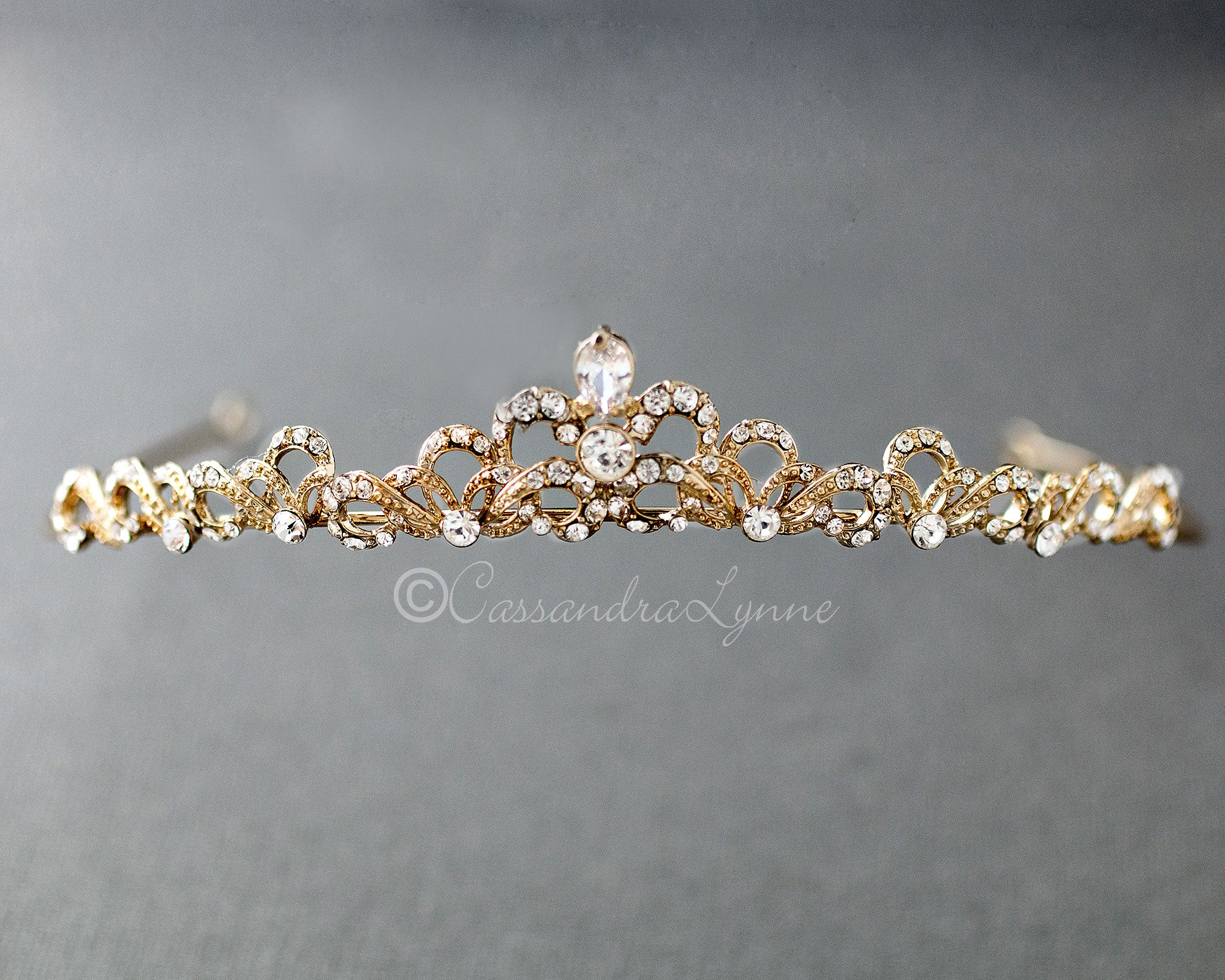 Petite Tiara of Gold Scrolls and Pear Stone