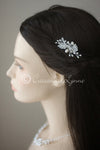 Petite Wedding Barrette with Feather and Pearl Design
