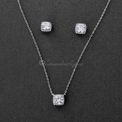 Square Cut CZ Necklace Set Silver