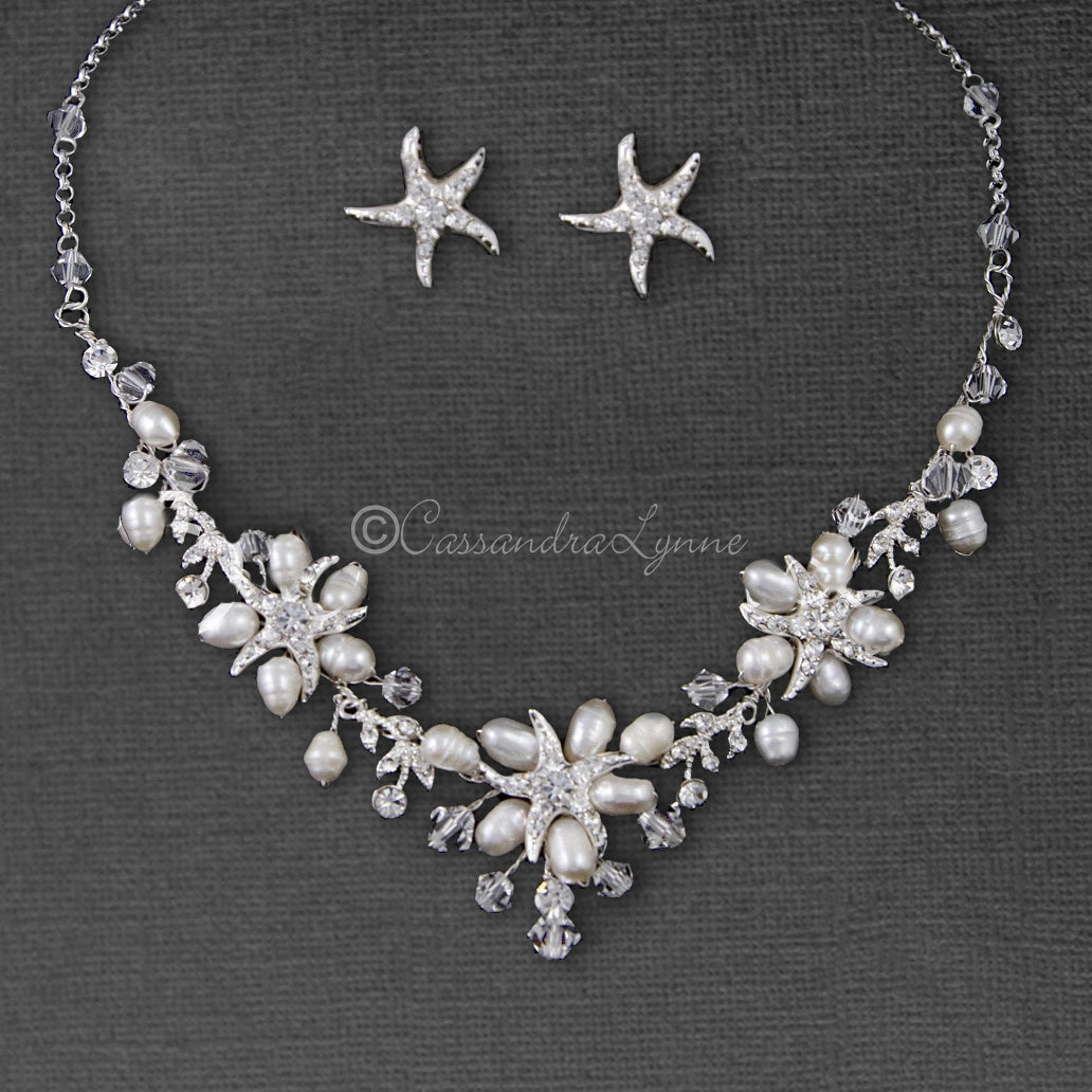 Beach Wedding Necklace Set of Starfish Crystals and Pearls