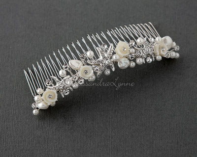 Beach Wedding Comb of Starfish and Shell Flowers