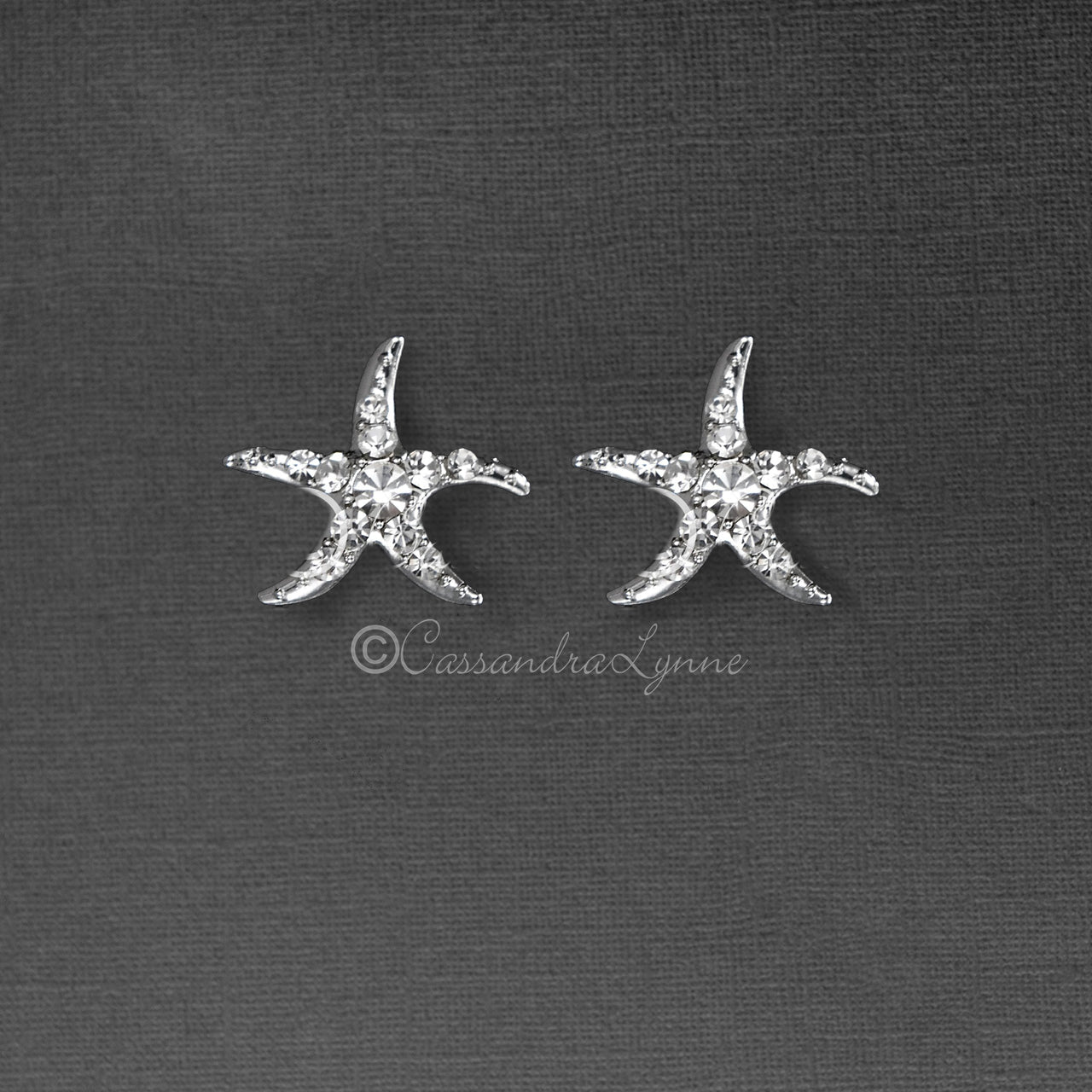 Starfish Wedding Earrings with Crystals