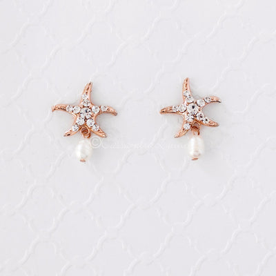 Beach Wedding Day Earrings of Starfish Rose Gold