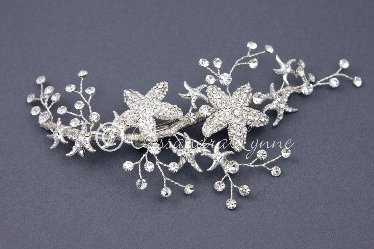 Starfish Wedding Hair Vine Clip with Rhinestones