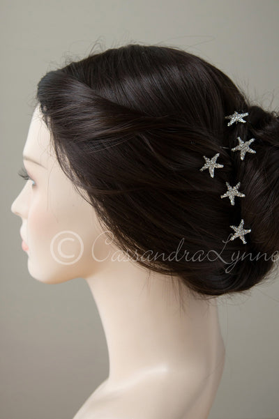 Crystal Starfish Hair Pins Silver