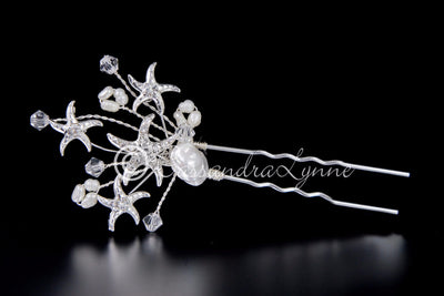 Beach Bridal Hair Pin with Jeweled Starfish and Pearls