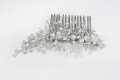 Beach Wedding Hair Comb with Starfish and white Pearls