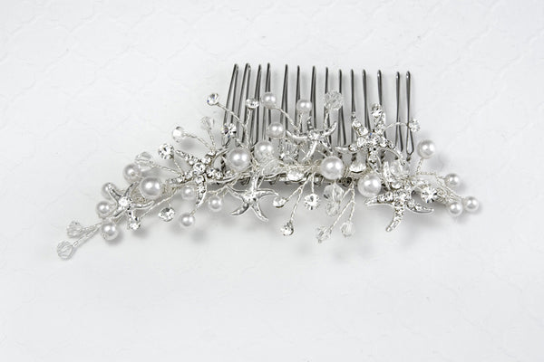Beach Wedding Hair Comb with Starfish and Freshwater Pearls