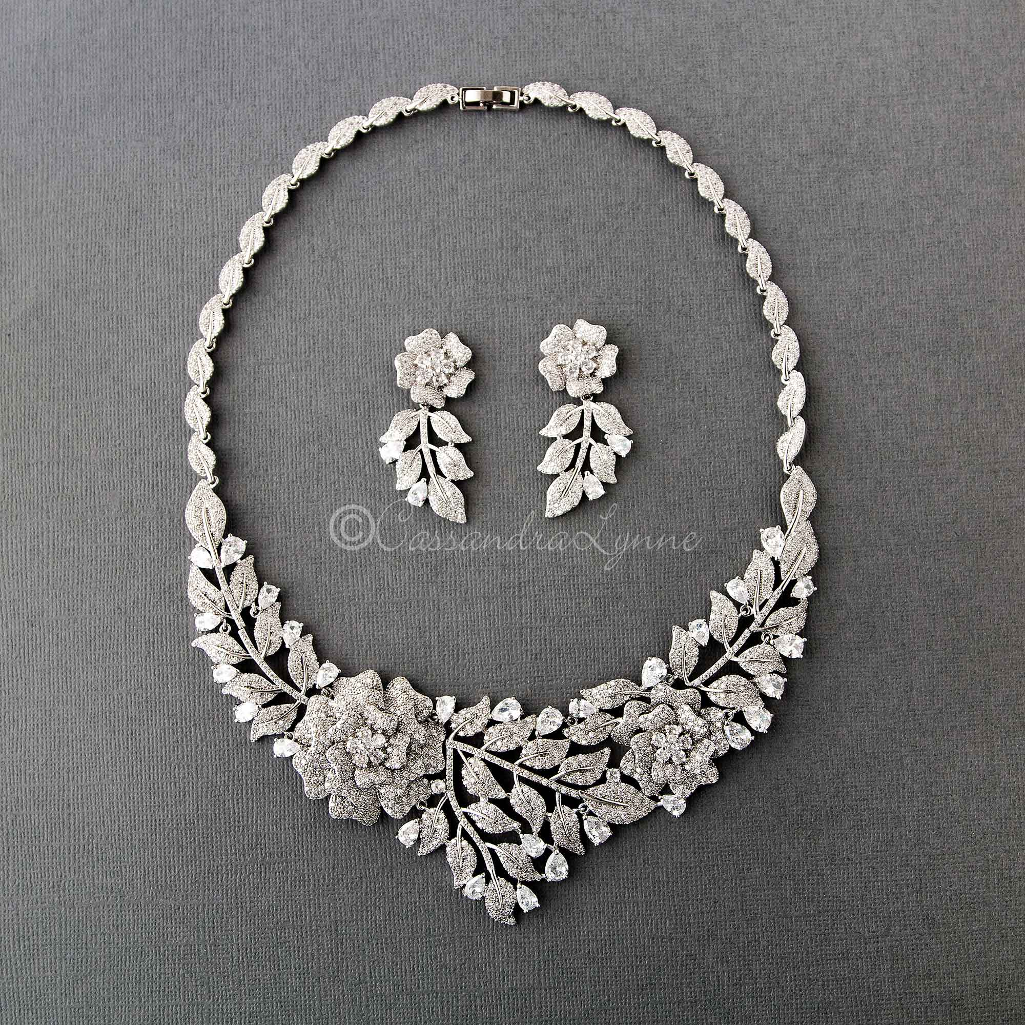 Statement Wedding Necklace of Pave Flowers and Leaves