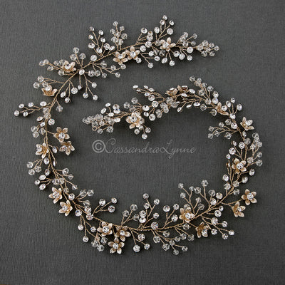 Crystal Bridal Hair Wrap with Flowers Gold
