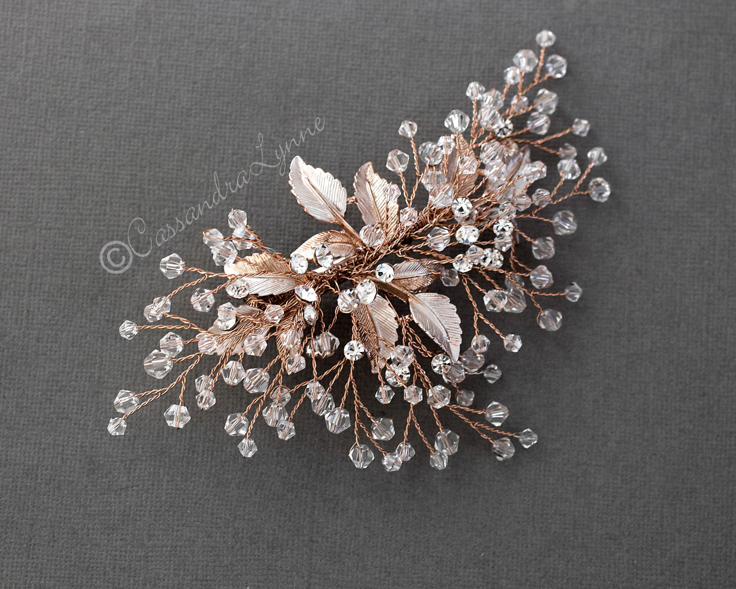 Rose Gold Bridal Hair Piece with Crystals