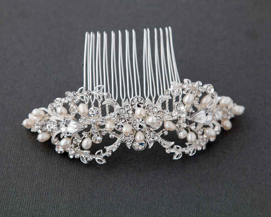 amazon water wedding bridal dp flowers com comb with fresh hairpiece pearls rhinestones side
