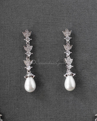 Teardrop Pearl CZ Wedding Necklace Set