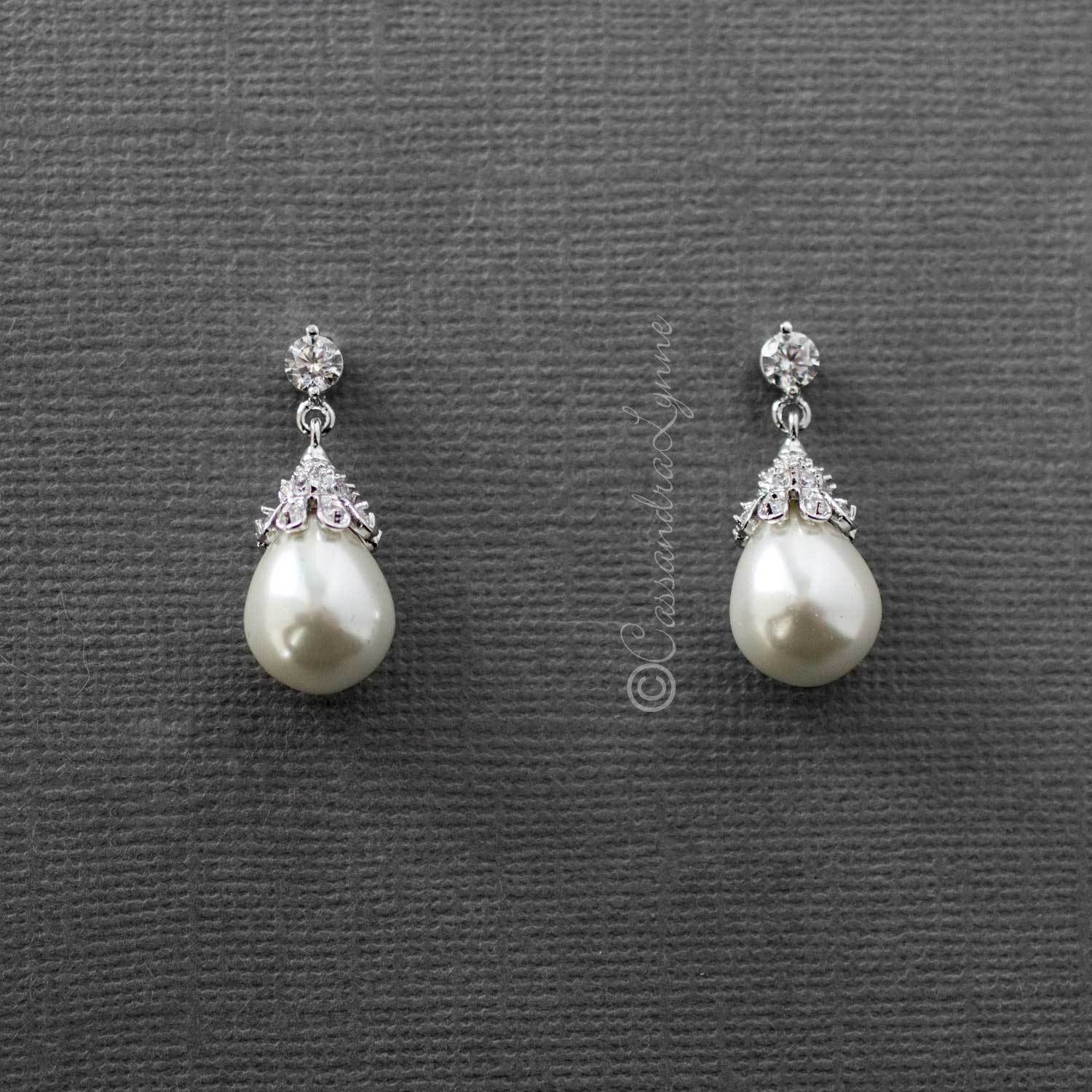 Vintage CZ Topped Teardrop Pearl Earrings